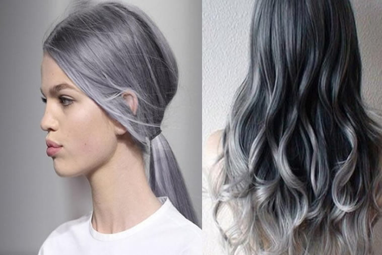 Grey Long Buns Hairstyles For Middle Age 2017