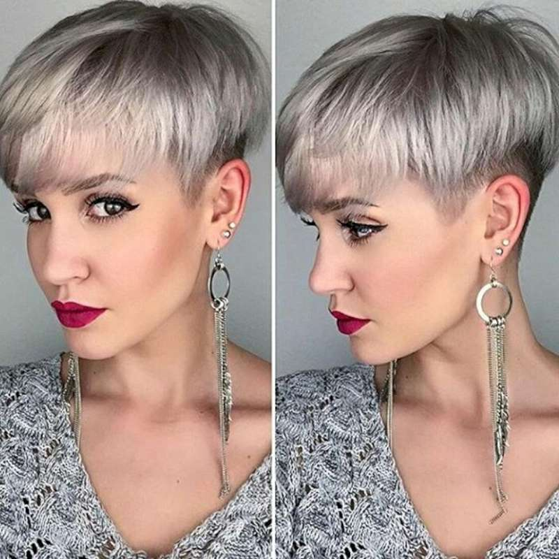Grey Short Hairstyles and Haircuts 2017 for