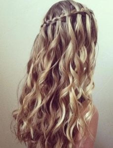 Dashing Curly And Ladder Waterfall Braid Hairstyles