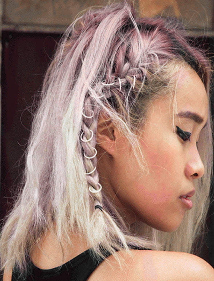 Gray Color Side Braided Long Hairstyles For Japanese Women