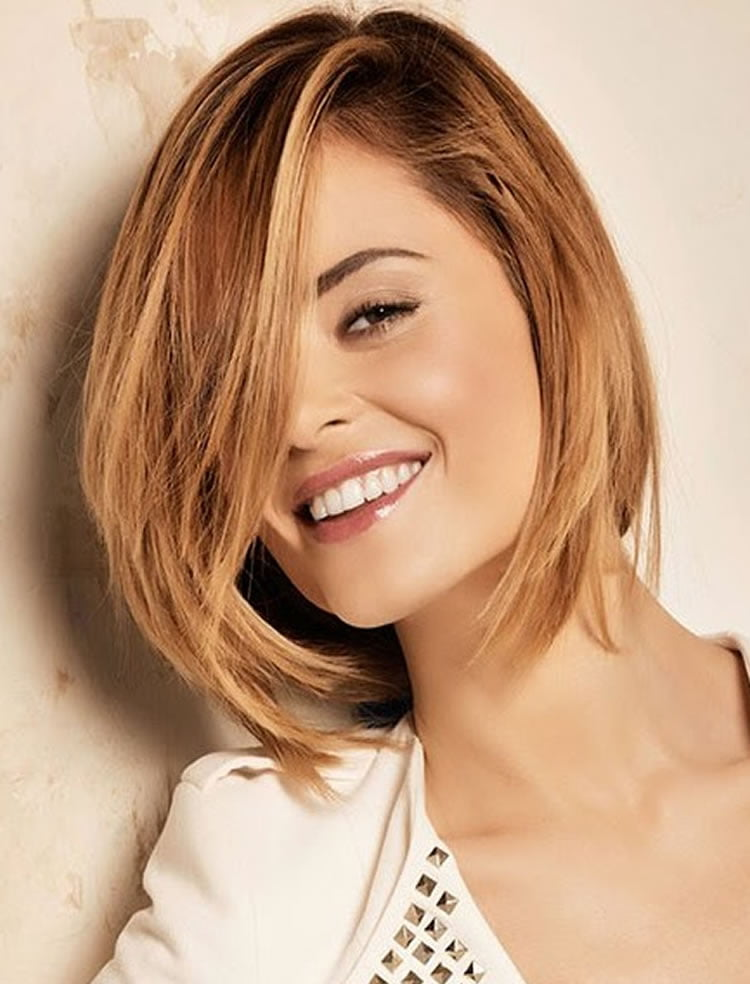 Attractive sideswept medium layered Bob Hair