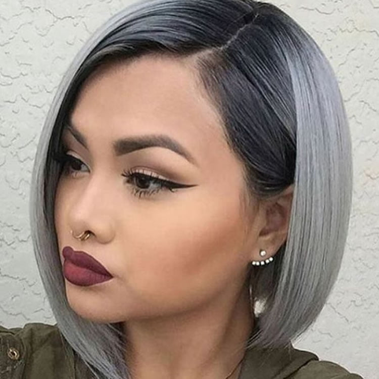 Cute Ombre Black Gray Sliver Mix Color For Short Hair 2017