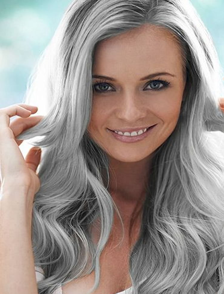 Chic Long Layered Grey Hairstyles for Women over 40 ...