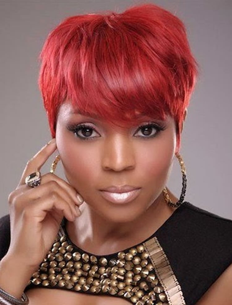 Enchanting Red Short Haistyles With Bangs For Black Women 2017 2018