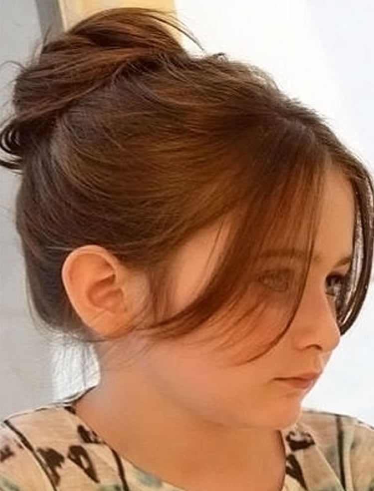 Straight Hair Buns Hairstyles With Bangs For Little Girls 2017 2018
