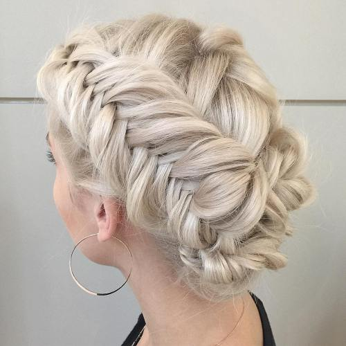 37 Wedding Hairstyles For Black Women To Drool Over 2017: Fishtail Braid Blonde Updo