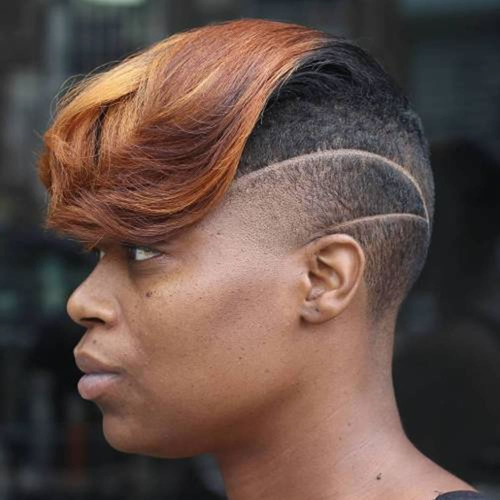 Half Shaves Short Hairstyles for Black Women