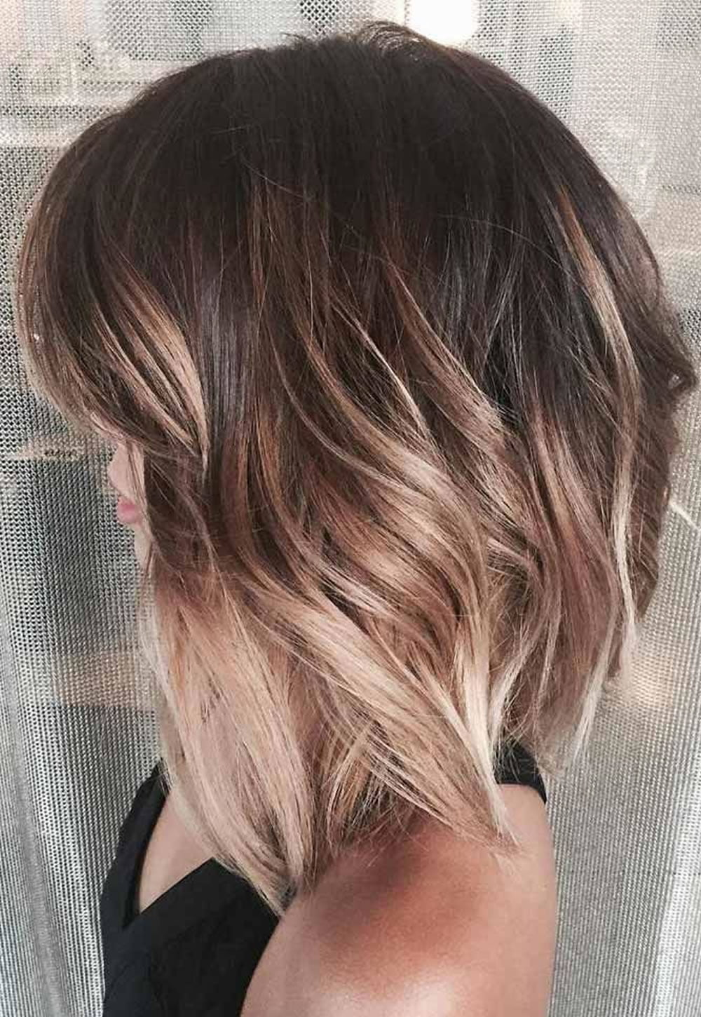 asymmetrical short haircuts with balayage highlights 2018. Black Bedroom Furniture Sets. Home Design Ideas