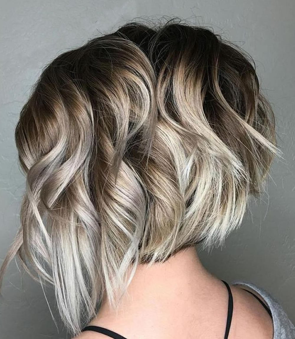 Asymmetrical Short Haircuts With Balayage Highlights 2018 2019
