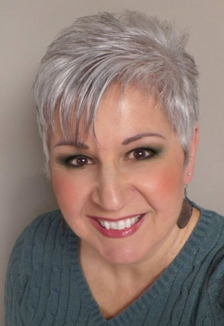 Short pixie haircut with gray hair color – HAIRSTYLES