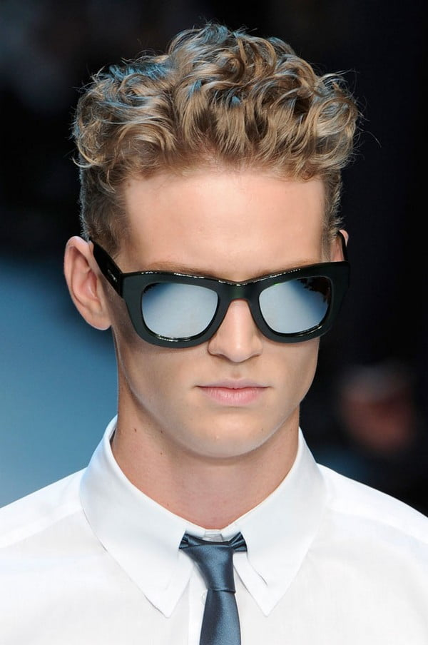Curly and cropped mens hair