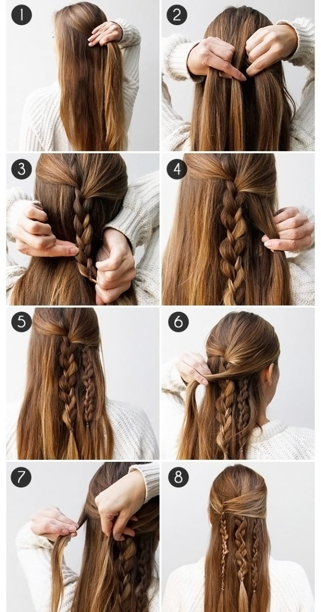 Fast hairstyles for long and medium hair
