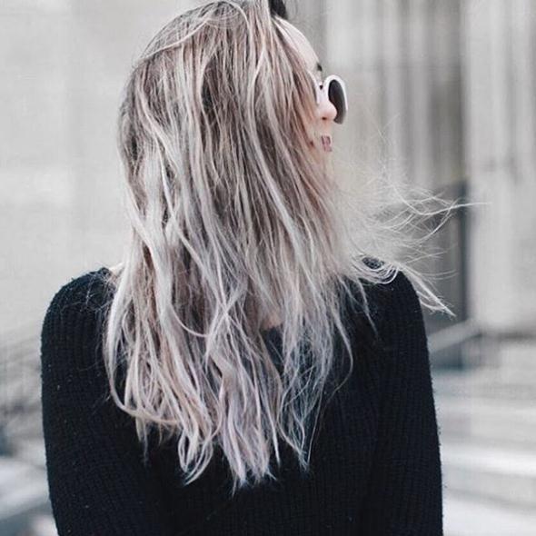 Grey Long Layered Hairstyles and haircuts 2017