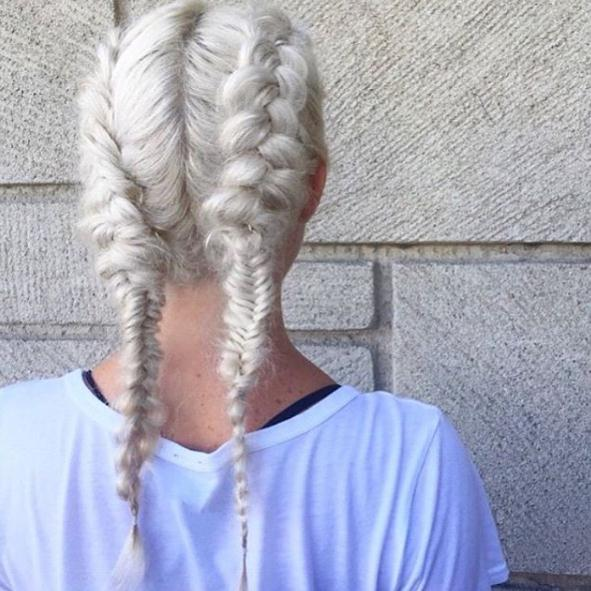 Grey hairstyles braided double knit
