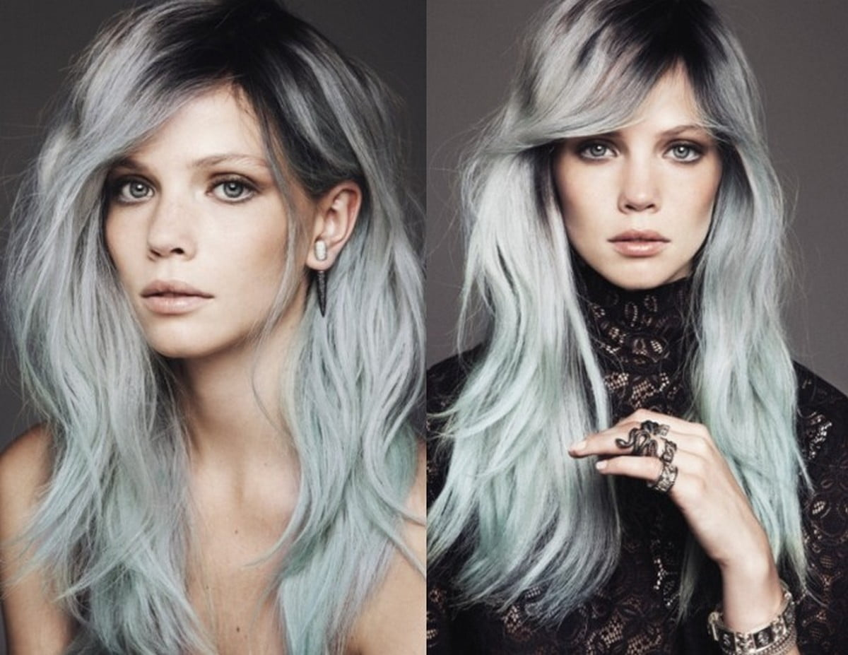 Grey Long Straight Hairstyles Fall - Winter 2016-2017