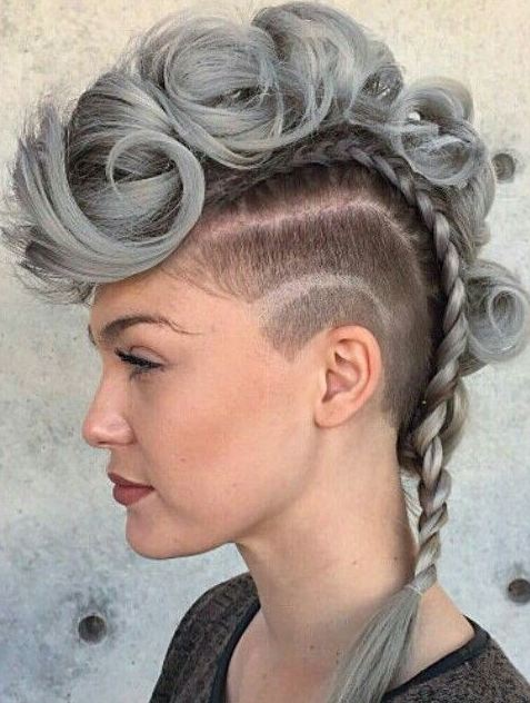 Grey Mohawk hairstyles and haircuts long hair 2017 for women