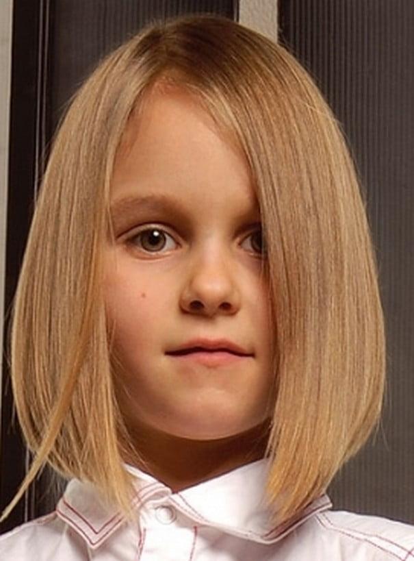 2016-2017 Winter Little Girls Hairstyles Haircuts Blonde Straight Hair