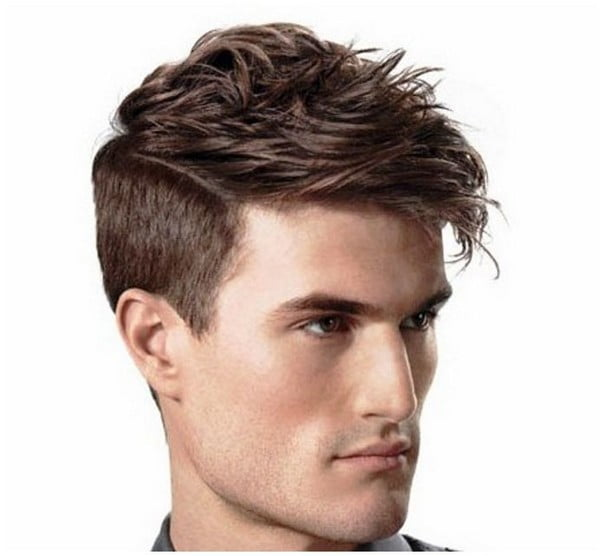 2017 Mens short hairstyles wavy sides long faces
