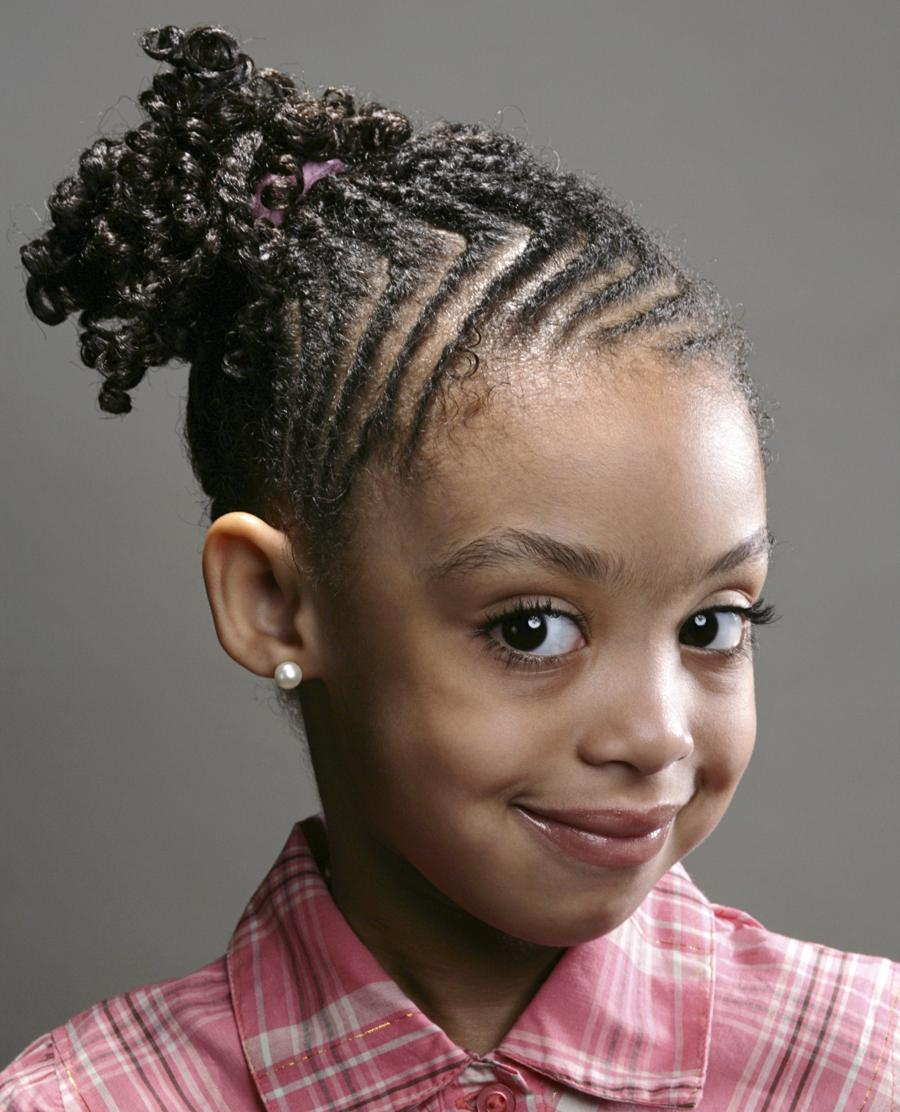 Braided Hairstyles for little black girl with buns