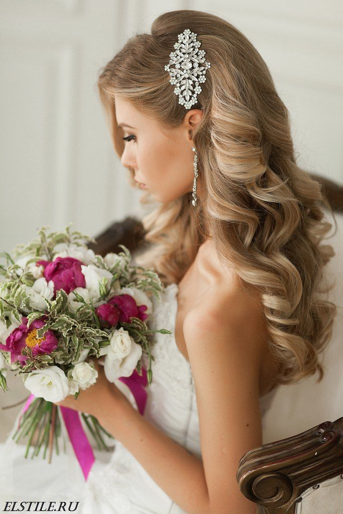 Excellent Wedding day Long Lenght Side Hairstyles for Bride Blonde Hair 2017