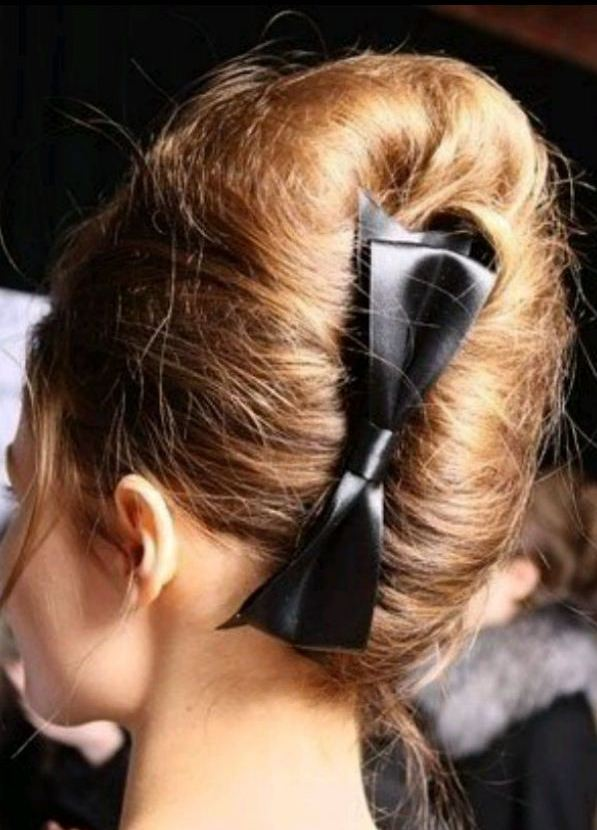 Glorious Bun Hairstyles with black ribboned