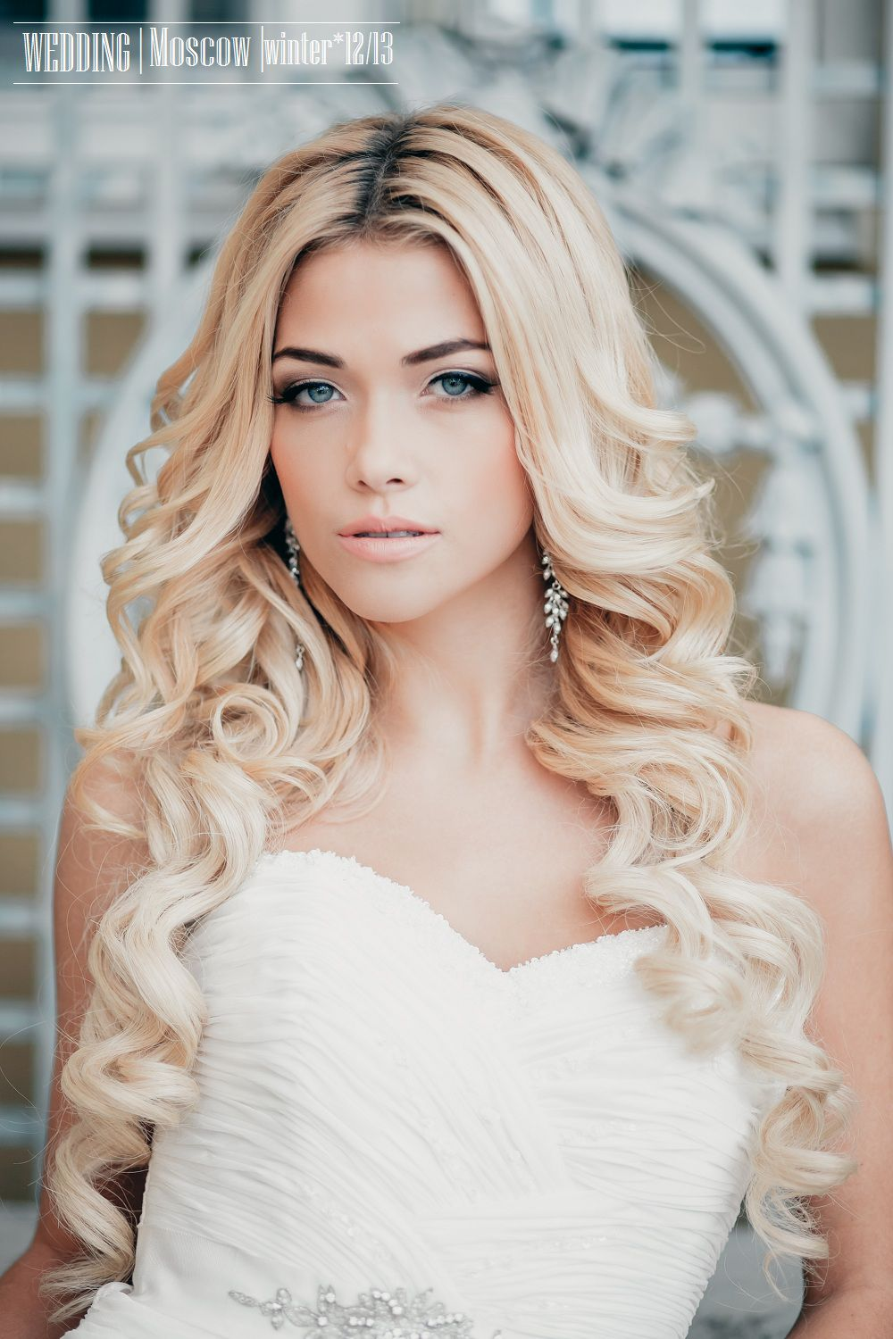 Glorious Wavy Wedding day Blonde Long Hairstyles for Bride