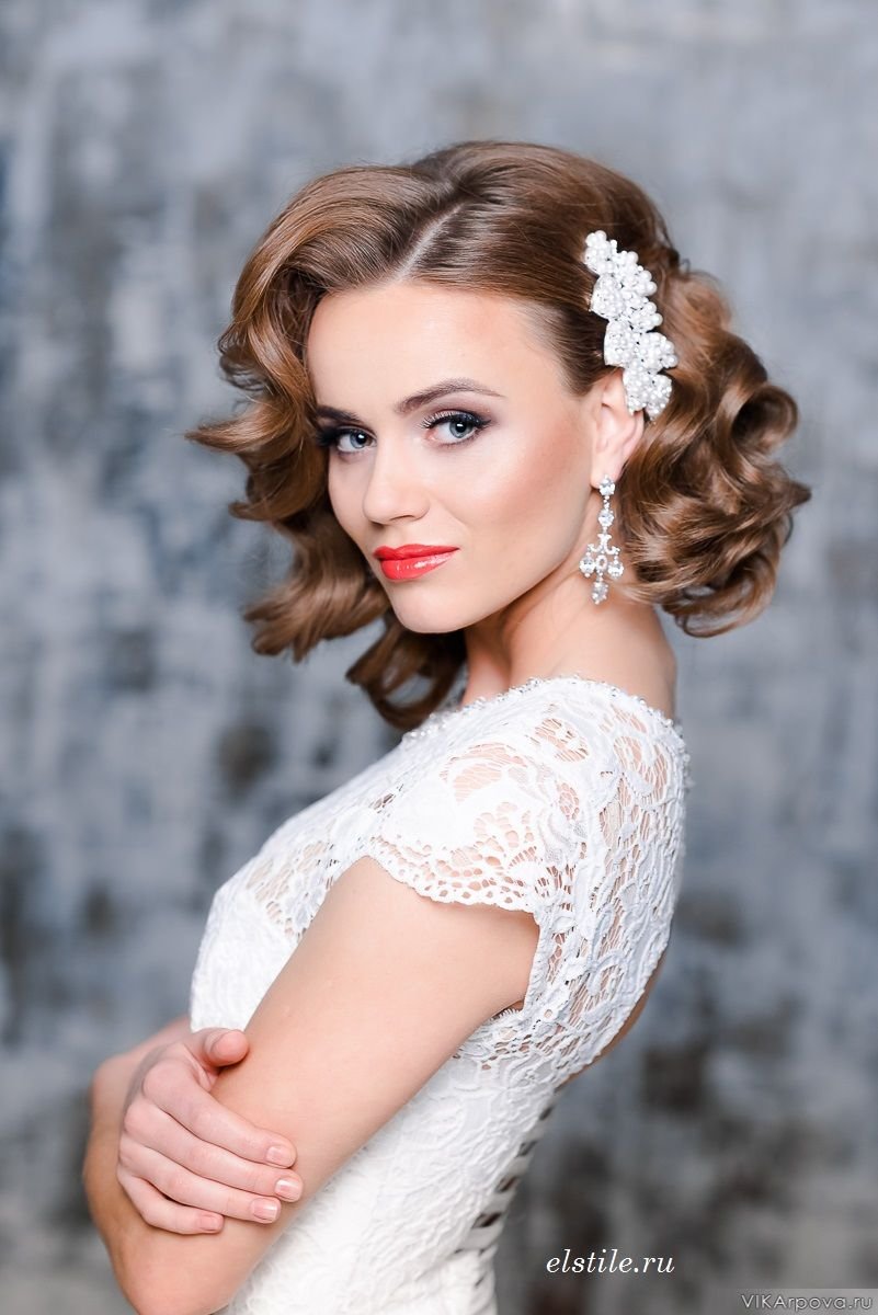 Hottest Wedding day Medium Hairstyles for Bride with accessory in 2017