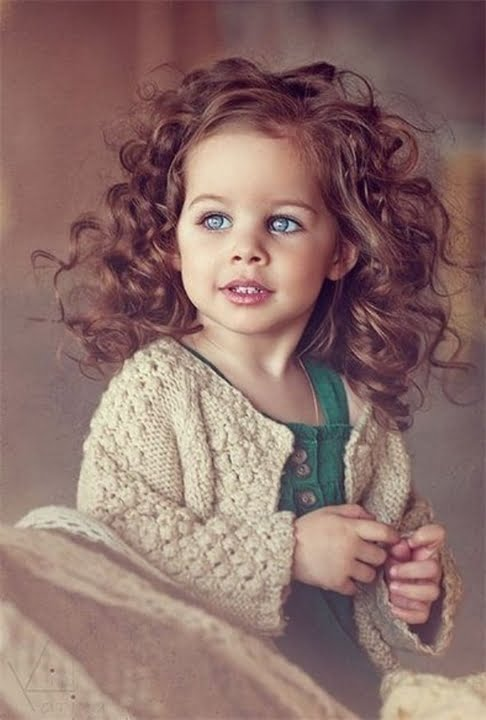 Litte Girls Cury Long Hairstyles 2016-2017