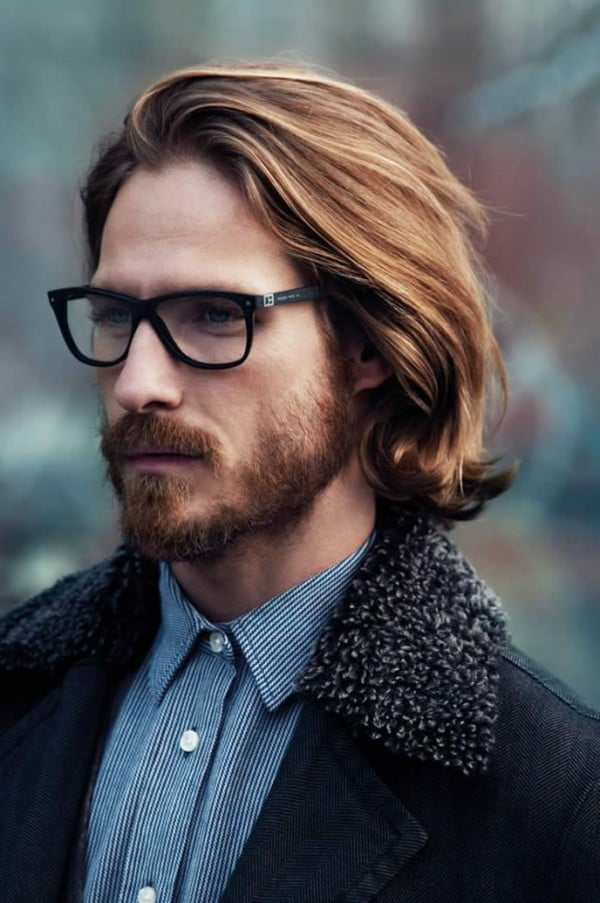 Long Hairstyles for Blonde Braided Men with Glasses