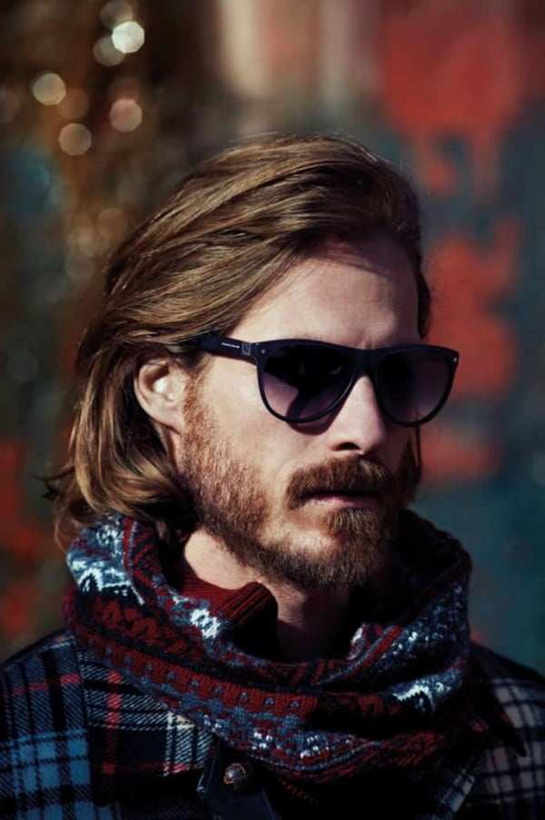 Long Straight Hairstyles and Haircuts for Bearded Men 2017