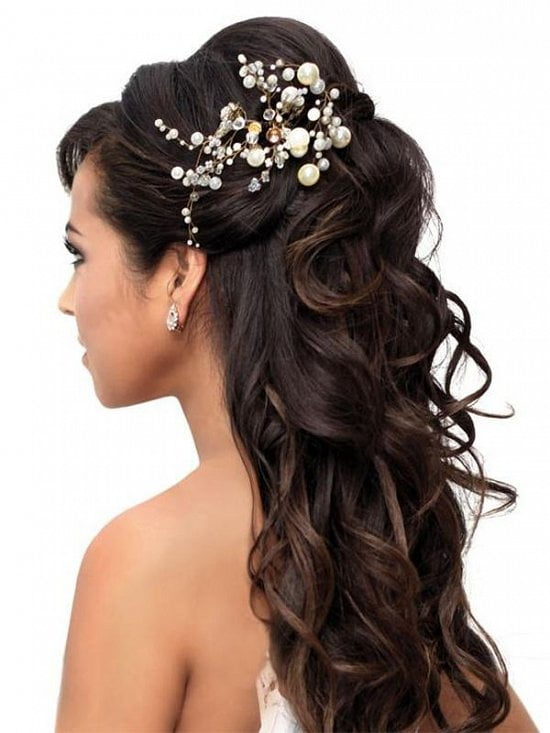 Refulgent Wedding day Long Lenght Black Hairstyles with accessory for Bride 2017
