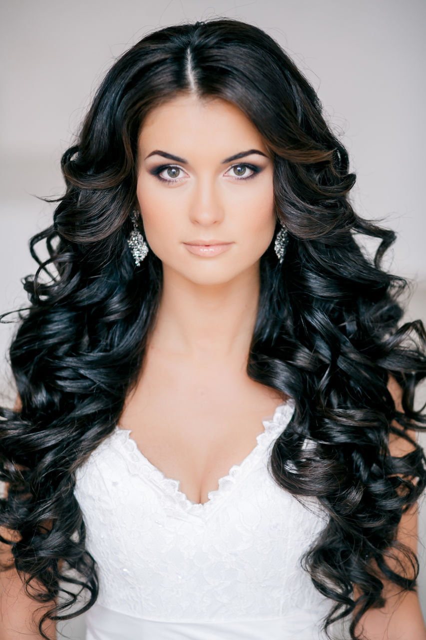 Spectacular Wedding day Long Lenght Black Hairstyles for Bride black Hair 2017