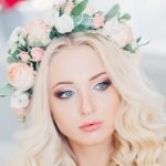 Superb Wedding day Long Lenght Blonde Hairstyles for Bride with flowers 2017