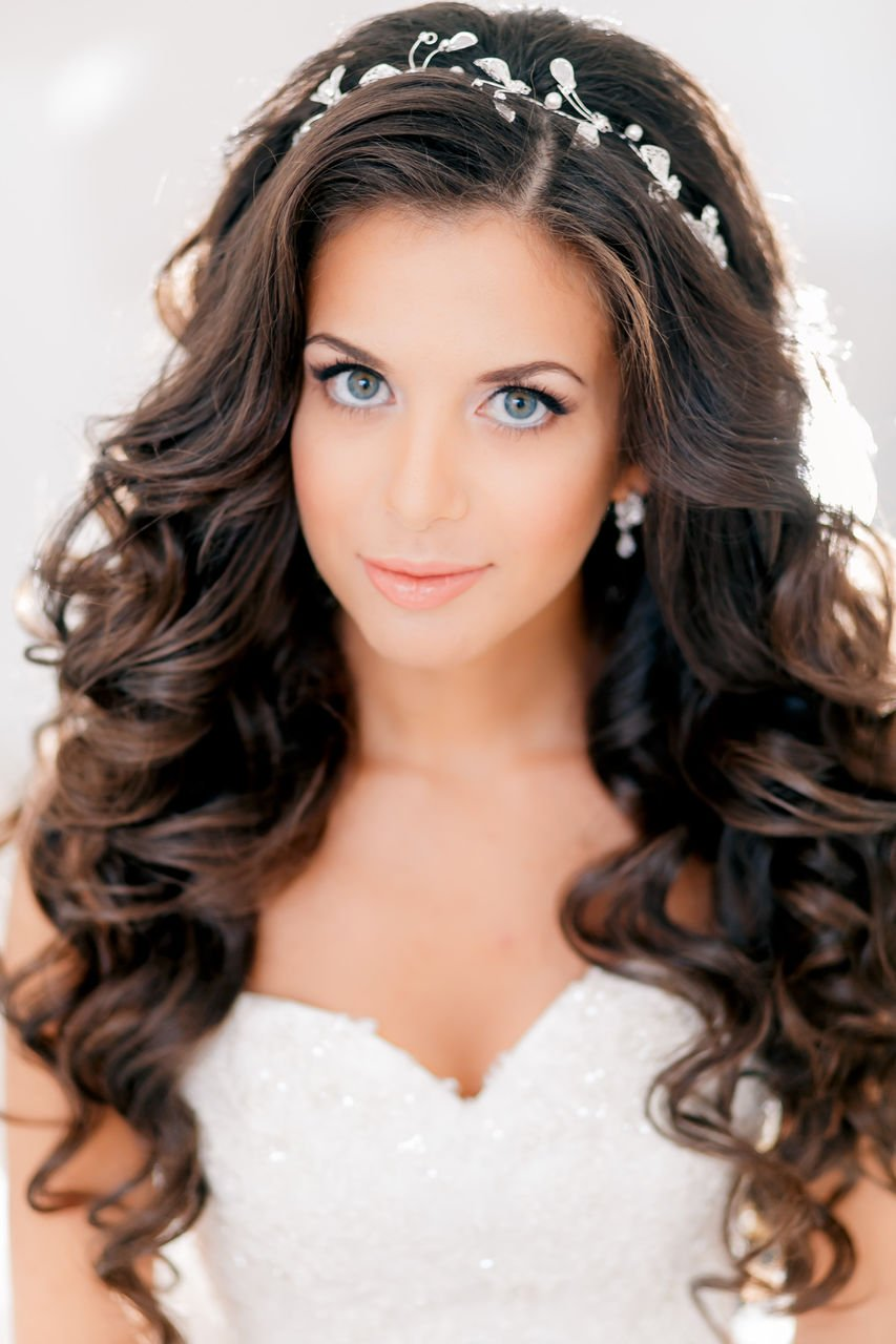 Unbelievable Wedding day Long Wavy Black Hairstyles for Bride 2017