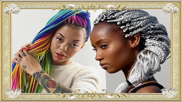 2017 Gray and colorful box braided hairstyles for black women
