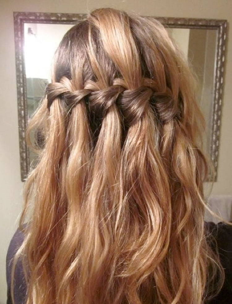 Beautiful waterfall braid hairstyles for wedding
