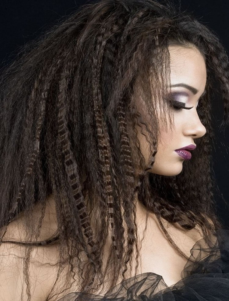 Black hair crimped hairstyles for women