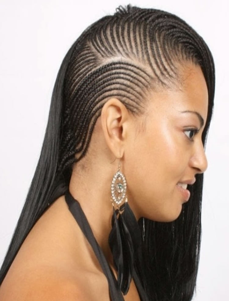 Black side braided long hairstyles for African American black women