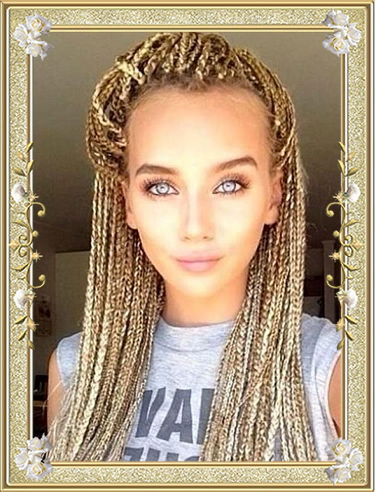 Blonde box braided hairstyles for black women