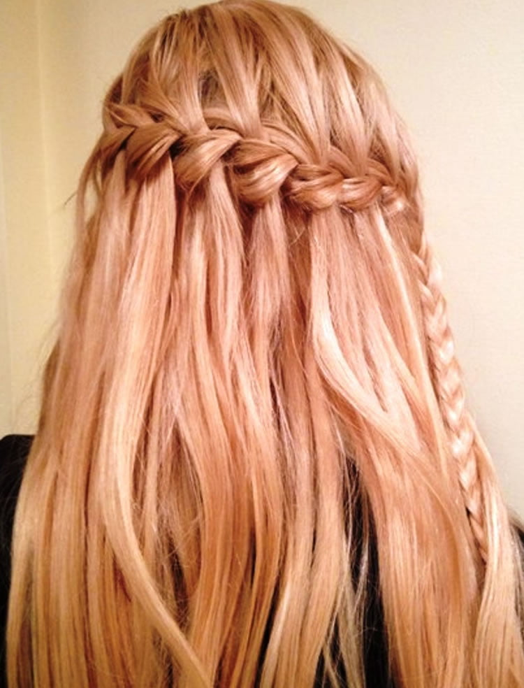 Blonde hair waterfall braid hairstyle for women