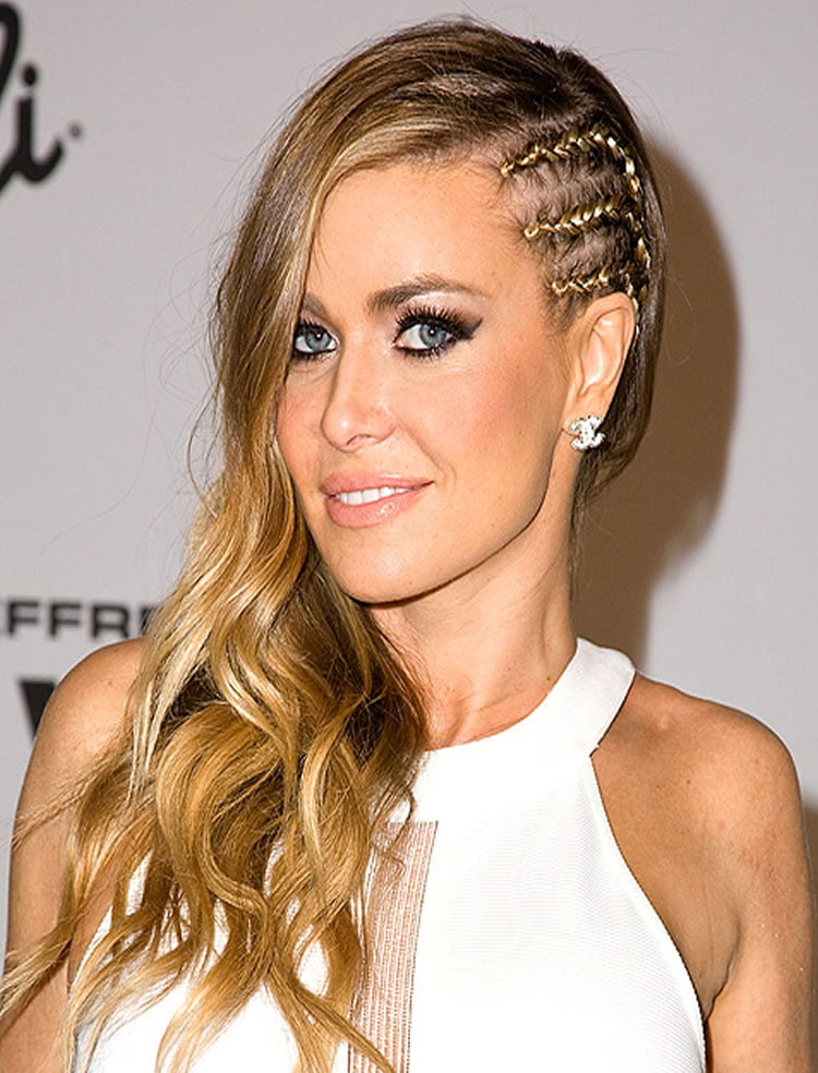 Blonde side braided long hairstyles