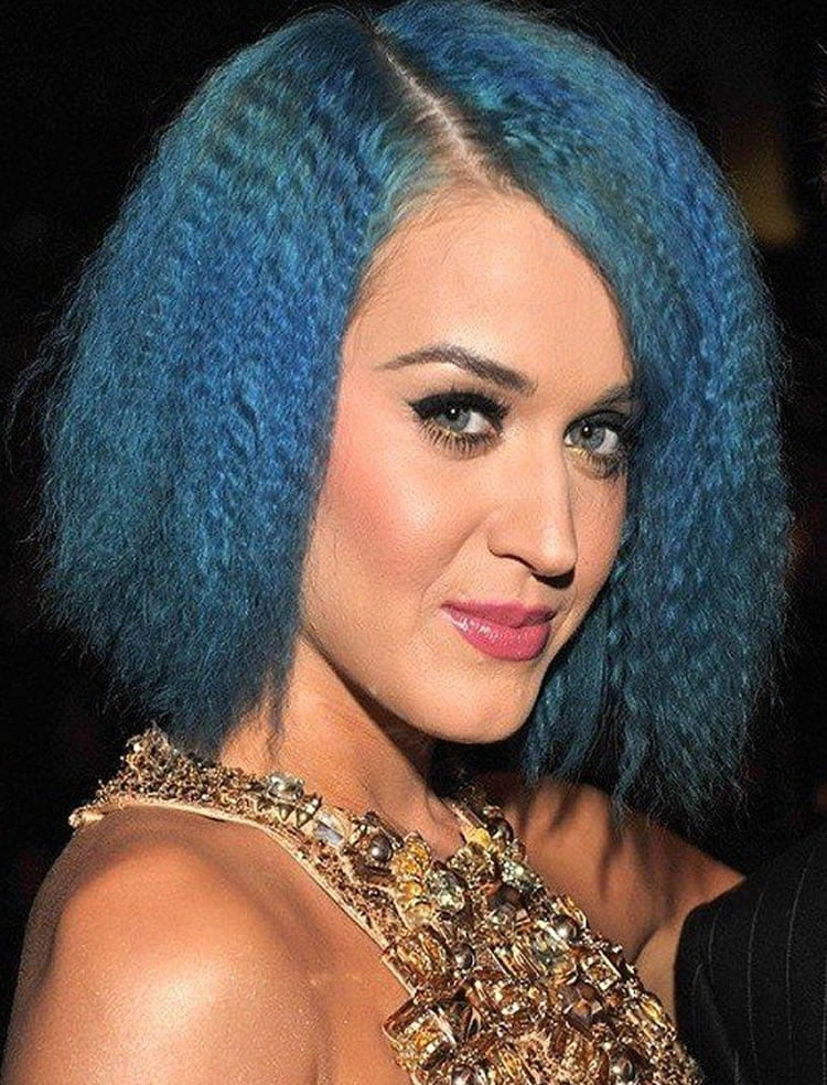 Blue Crimped Hairstyles for Medium hair