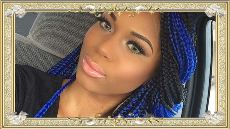 Blue-black box braided hairstyles for black women