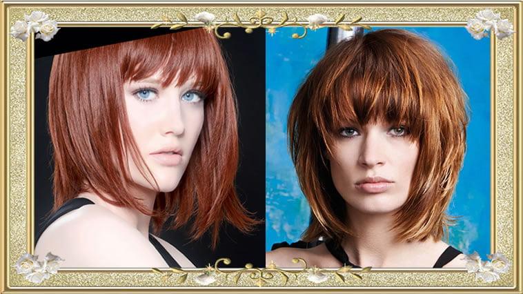 Brown Medium Hairstyles with Bangs