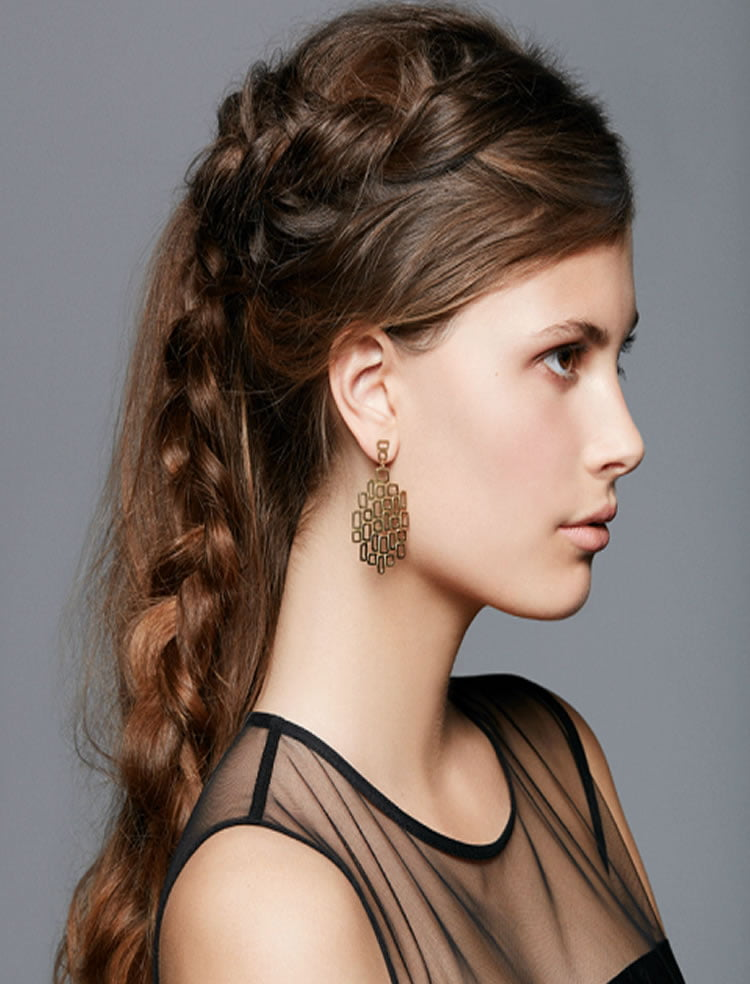 Brown hair side braided long hairstyles