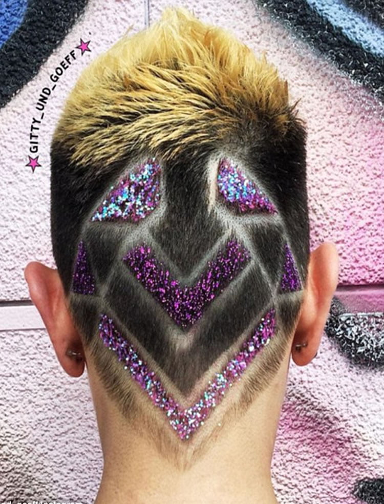 Charming undercut hair for colorful short hair
