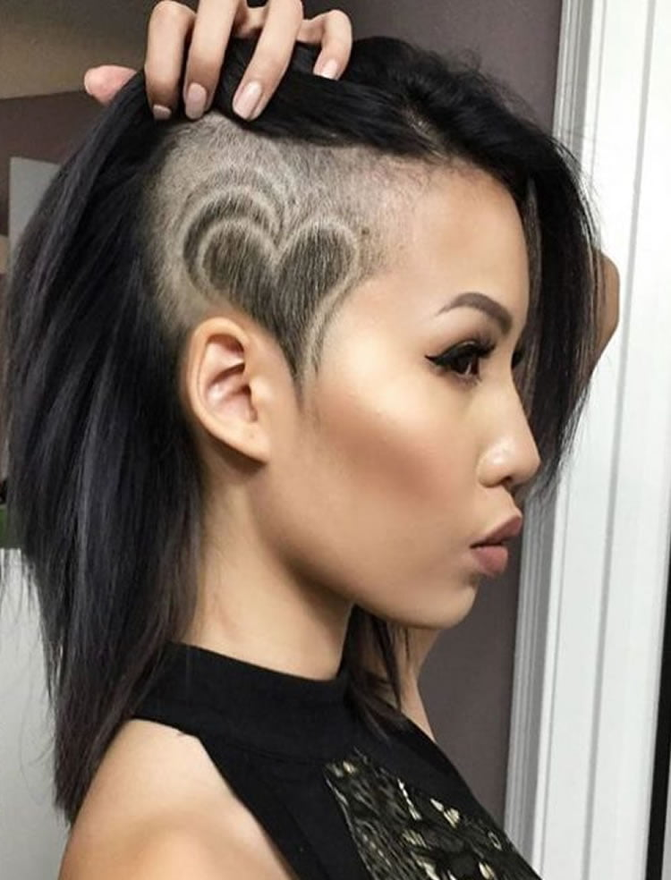 Classy Medium Undercut Hair with Heart Shape