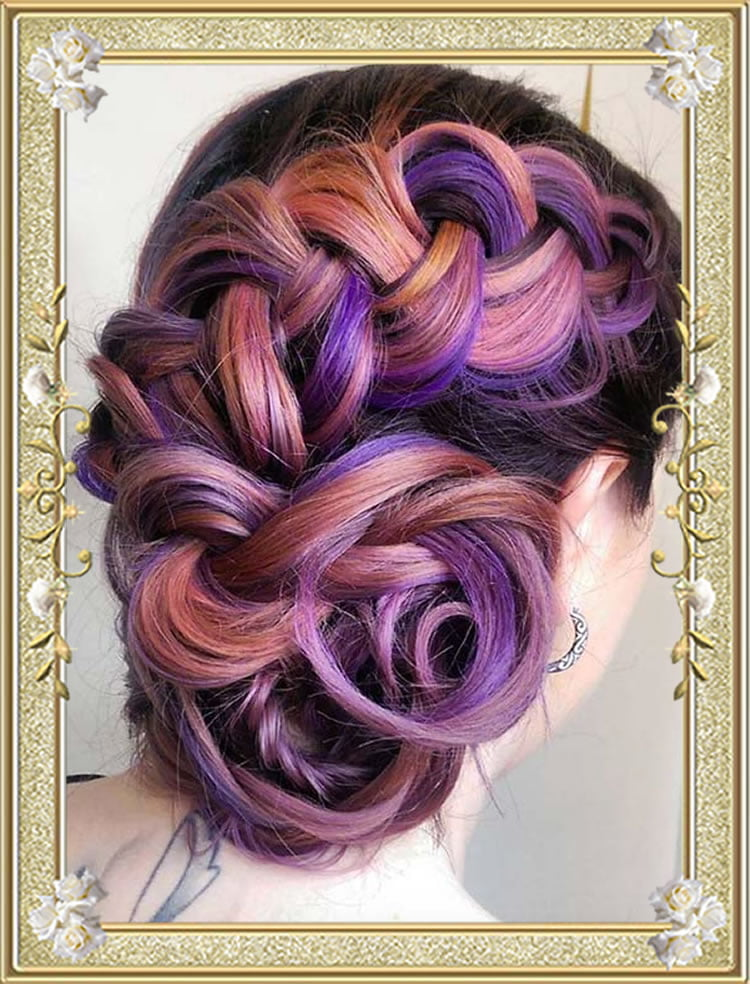Colored Braided Updo Hairstyles