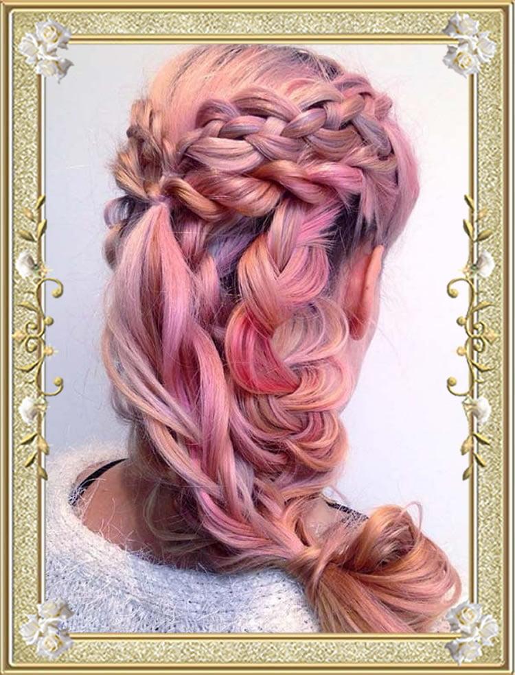 Cute Braided Hairstyles Pink Loose Braids