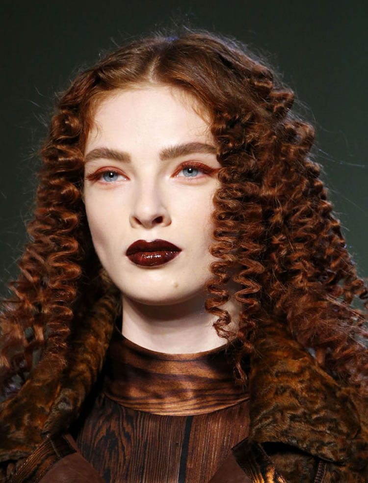 Delectable Center part medium hairstyles for perm hair